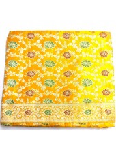 Ochre Yellow Base  Deluxe Jari  Rumala Sahib With Maroon and Green Flowers - Jari_1017