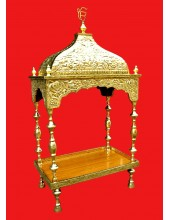 Brass Palki Sahib Super Deluxe  With Tall Roof- Mini Size - For Guru Granth Sahib Ji