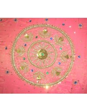 Rumala Sahib - Dark Pink Silk Rumala Sahib - Embroidered Along All 4 Sides - HE_1004