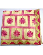ME_1009 - Cream Rumala Sahib With Elegant Magenta & Golden Threadwork and Enchanting Borders
