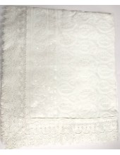 ME_1013 - White Rumala Sahib with White Thread Embroidery - White Floral Patterns