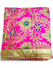 ME_1007 -  Magenta Rumala Sahib With Elegant Threadwork,  Magnificient Embroidery and Enchanting Borders