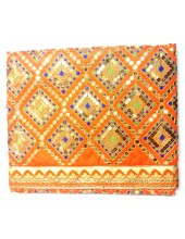 ME_1020 -  Orange Rumala Sahib With Elegant Threadwork,  Magnificient Embroidery and Enchanting Borders