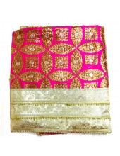 ME_1039 -  Magenta Rumala Sahib With Sippi Embroidery and Enchanting Triple Borders
