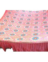 CH_1002 -  Pink Chandoa  Sahib -  5 Feet by 5 Feet  &  Rumala Sahib Set With Elegant Threadwork,  Magnificient Embroidery and Enchanting Borders