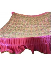 CH_1001 -  Pink Chandoa  Sahib -  6 Feet by 6 Feet  &  Rumala Sahib Set With Elegant Threadwork,  Magnificient Embroidery and Enchanting Borders