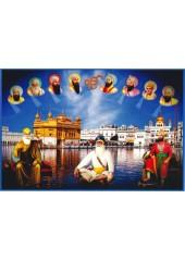 Baba Deep Singh Ji With Sikh Gurus  - SSW1140