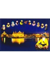 Baba Deep Singh Ji With Sikh Gurus  - SSW1141