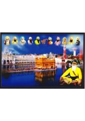 Baba Deep Singh Ji With Sikh Gurus  - SSW1144