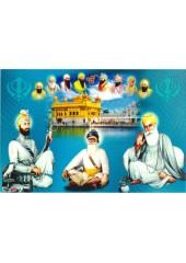 Baba Deep Singh Ji With Sikh Gurus  - SSW1150