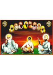 Baba Deep Singh Ji With Sikh Gurus  - SSW1153