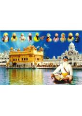 Baba Deep Singh Ji With Sikh Gurus  - SSW1159