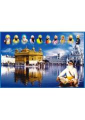 Baba Deep Singh Ji With Sikh Gurus  - SSW1161
