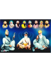 Baba Deep Singh Ji With Sikh Gurus  - SSW957