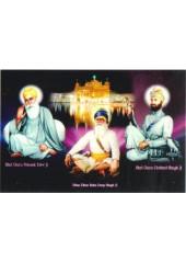 Baba Deep Singh Ji With Sikh Gurus  - SSW965
