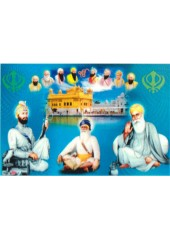 Baba Deep Singh Ji With Sikh Gurus  - SSW972