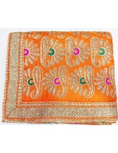 ME_1003 -  Orange Rumala Sahib With Elegant Threadwork,  Magnificient Embroidery and Enchanting Borders