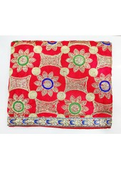ME_1001 -  Red Rumala Sahib With Elegant Threadwork,  Magnificient Embroidery and Enchanting Borders