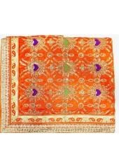 ME_1020 -  Orange Rumala Sahib With Elegant Threadwork,  Magnificient Embroidery and Enchanting Borders