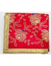 ME_1007 -  Red Rumala Sahib With Elegant Threadwork,  Magnificient Embroidery and Enchanting Borders