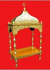 Brass Palki Sahib Super Deluxe With Tall Roof - Large Size - For Guru Granth Sahib Ji