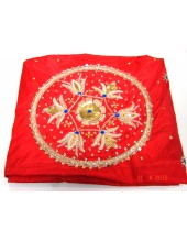 Rumala Sahib Maroon Silk - Embroidered Corners - HE_1006
