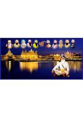 Baba Deep Singh Ji With Sikh Gurus  - SSW1111