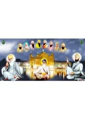 Baba Deep Singh Ji With Sikh Gurus  - SSW1130