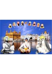 Baba Deep Singh Ji With Sikh Gurus  - SSW1136