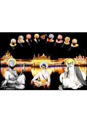 Baba Deep Singh Ji With Sikh Gurus  - SSW1137