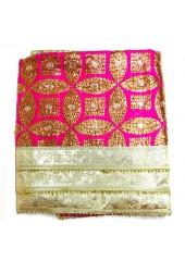 ME_1039 -  Magenta Rumala Sahib With Sippi Embroidery and Enchanting Triple Borders