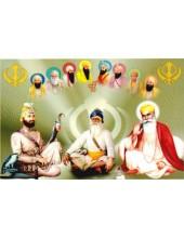 Baba Deep Singh Ji With Sikh Gurus  - SSW1002