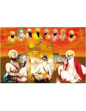 Baba Deep Singh Ji With Sikh Gurus  - SSW1006