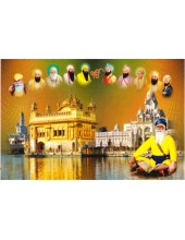 Baba Deep Singh Ji With Sikh Gurus  - SSW1009