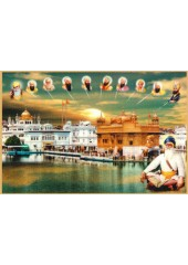 Baba Deep Singh Ji With Sikh Gurus  - SSW1012