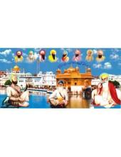 Baba Deep Singh Ji With Sikh Gurus  - SSW1014
