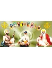 Baba Deep Singh Ji With Sikh Gurus  - SSW1016