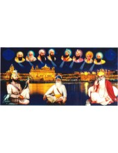 Baba Deep Singh Ji With Sikh Gurus  - SSW1018