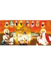 Baba Deep Singh Ji With Sikh Gurus  - SSW1021