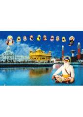 Baba Deep Singh Ji With Sikh Gurus  - SSW1022