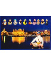 Baba Deep Singh Ji With Sikh Gurus  - SSW1025