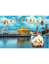 Baba Deep Singh Ji With Sikh Gurus  - SSW1032