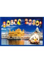 Baba Deep Singh Ji With Sikh Gurus  - SSW1034