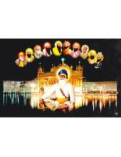 Baba Deep Singh Ji With Sikh Gurus  - SSW1037