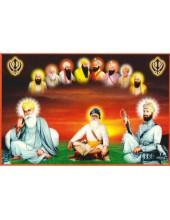 Baba Deep Singh Ji With Sikh Gurus  - SSW1043