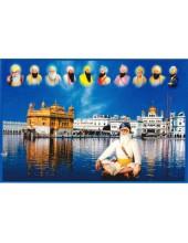 Baba Deep Singh Ji With Sikh Gurus  - SSW1050