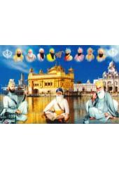 Baba Deep Singh Ji With Sikh Gurus  - SSW1051