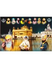 Baba Deep Singh Ji With Sikh Gurus  - SSW1052