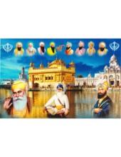 Baba Deep Singh Ji With Sikh Gurus  - SSW1053