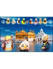 Baba Deep Singh Ji With Sikh Gurus  - SSW1054